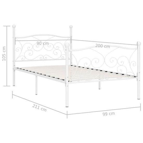 shumee Rama łóżka ze stelażem z listw, biała, metalowa, 90 x 200 cm
