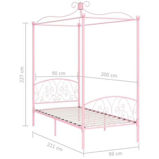 shumee rózsaszín fém baldachinos ágykeret 90 x 200 cm