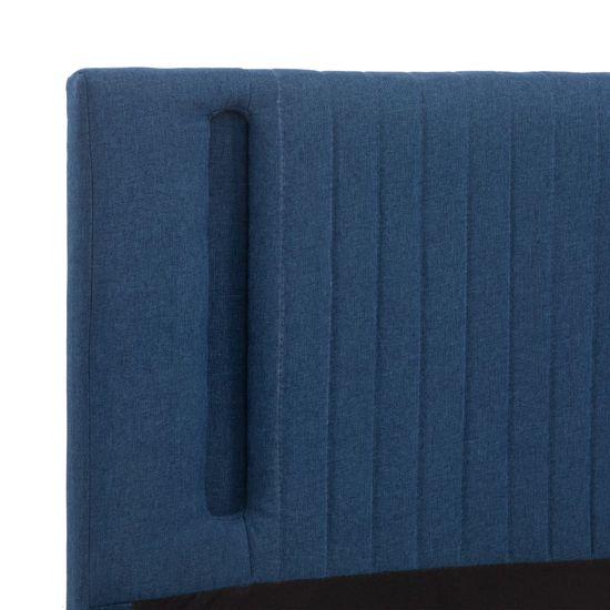 shumee kék szövetkárpitozású LED-es ágykeret 180 x 200 cm