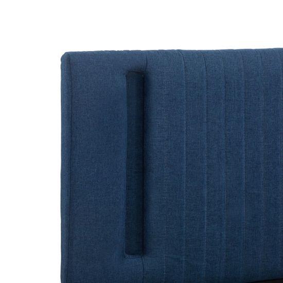 shumee Posteljni okvir z LED osvetlitvijo modro blago 120x200 cm