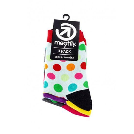 MEATFLY 3 PACK - nogavice Lahke nogavice Navadne Dots S19 Multi paket