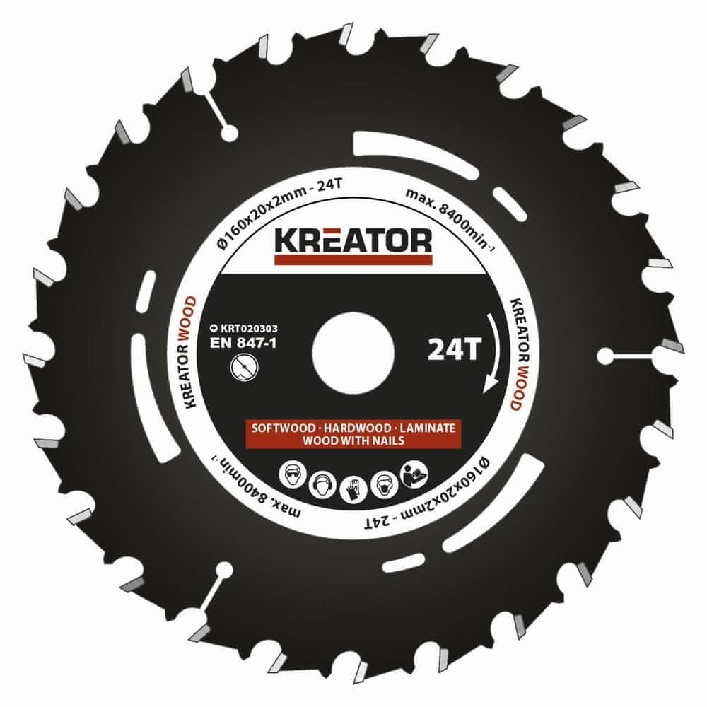 Kreator KRT020303 - Pilový kotouč pro ponorné pily 160mm, 24T