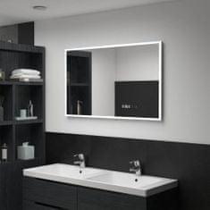 shumee Kopalniško LED ogledalo s senzorjem na dotik in uro 100x60 cm
