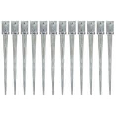 Kotvící hroty 12 ks stříbrné 9 x 9 x 90 cm pozinkovaná ocel