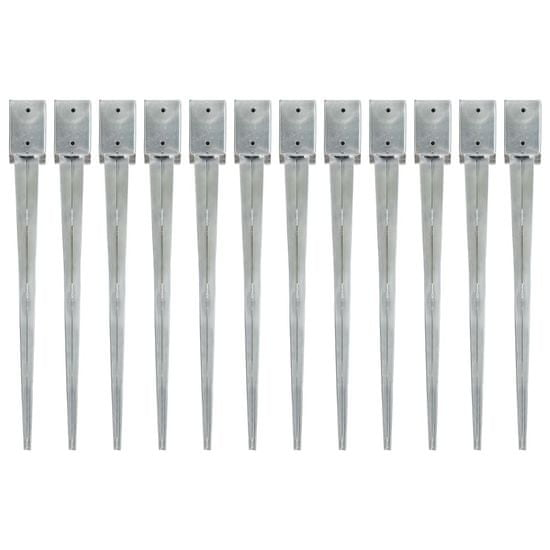 shumee 12 db ezüstszínű horganyzott acél kerítéstüske 9 x 9 x 90 cm