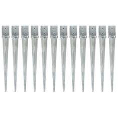 Kotvící hroty 12 ks stříbrné 10 x 10 x 91 cm pozinkovaná ocel