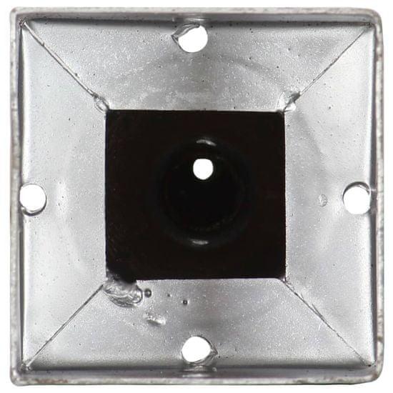 shumee 2 db ezüstszínű horganyzott acél kerítéstüske 9 x 9 x 56 cm