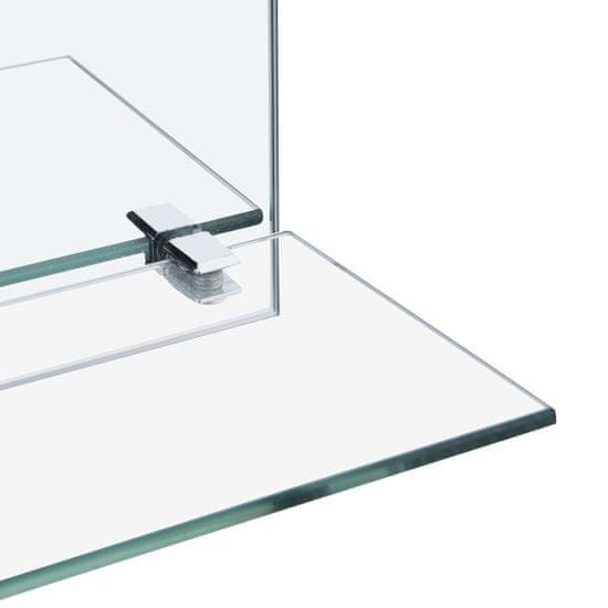 shumee Stensko ogledalo s polico 30x50 cm kaljeno steklo