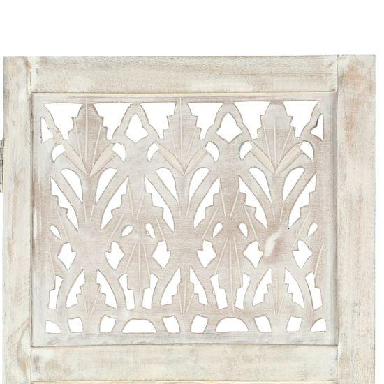 shumee 3-paneles fehér mangófa kézzel faragott térelválasztó 120x165cm