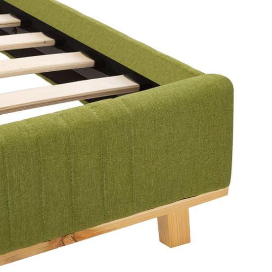 shumee Posteljni okvir z LED osvetlitvijo zeleno blago 180x200 cm