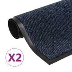 Protiprachové obdélníkové rohožky 2 ks všívané 60 x 90 cm modré
