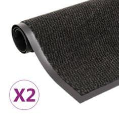 Protiprachové obdélníkové rohožky 2ks všívané 90x150 cm černé