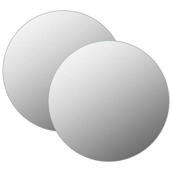 shumee Stensko ogledalo 2 kosa 40 cm okroglo steklo