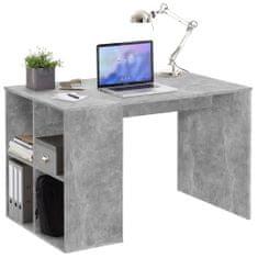 FMD Psací stůl s bočními policemi 117 x 73 x 75 cm betonově šedý