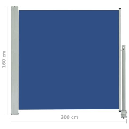 shumee kék behúzható oldalsó terasz napellenző 160 x 300 cm