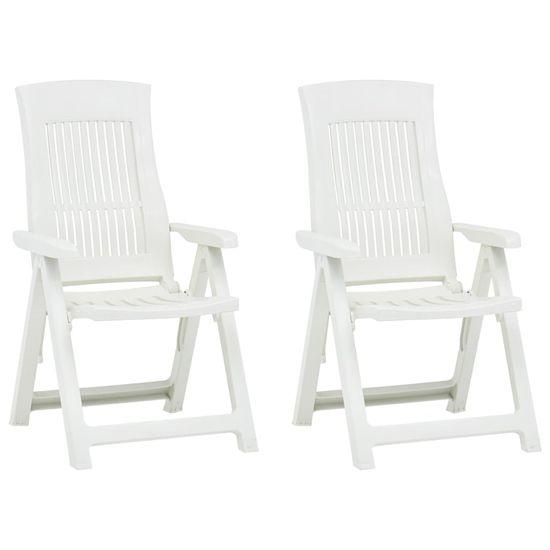 shumee 2 db fehér dönthető műanyag kerti szék