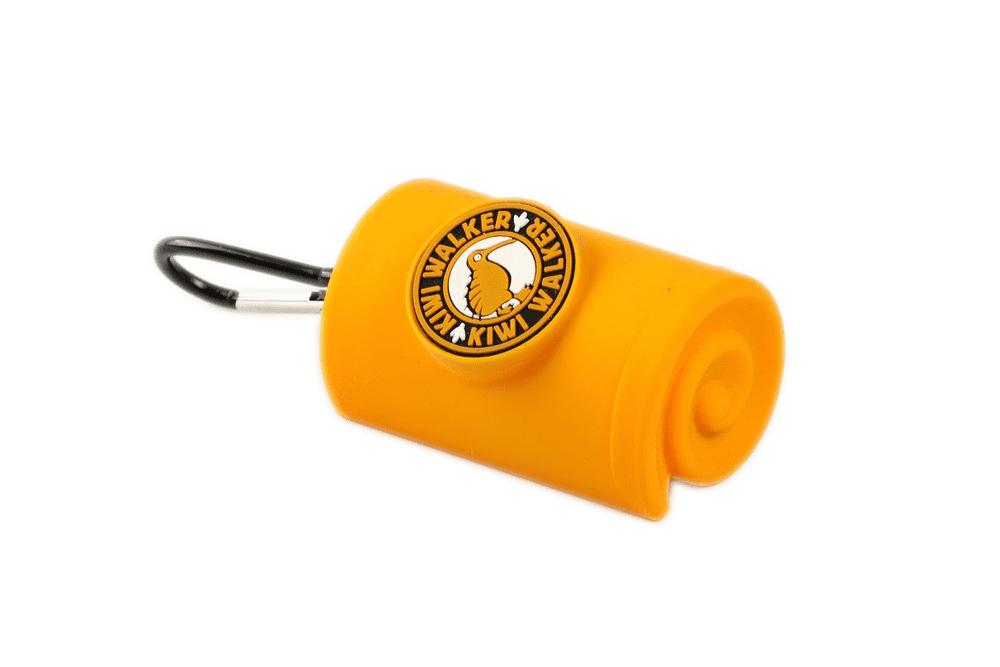 KIWI WALKER Obal s karabinou na sáčky, žlutý