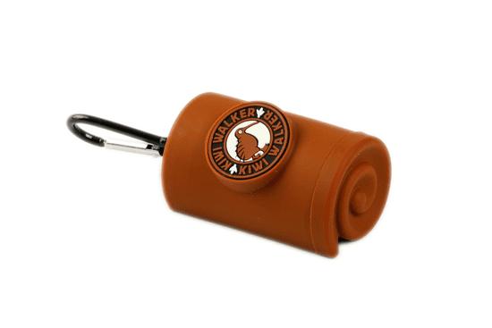 KIWI WALKER torbica za vrečke s karabinom, rjava
