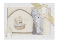 Interbaby osuška froté medvídek ve vaně + hřeben - krémová