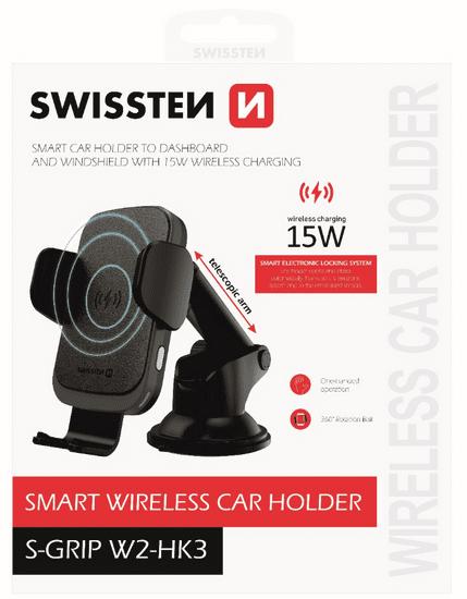 SWISSTEN Smart držák do auta s bezdrátovým nabíjením 15W S-Grip W2HK3 (65010607), černý