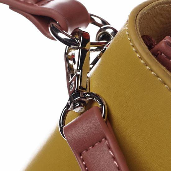 David Jones Pevná elegantná kabelka do ruky s klopou Zorka, žltá