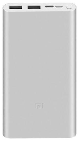 Xiaomi Mi Power Bank 3 prenosna baterija, 10000 mAh, 18 W, QC 3.0, srebrna