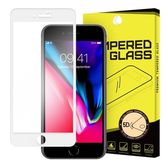 MG 5D Full Glue Super Tough zaščitno steklo za iPhone 7/8/SE 2020, bela