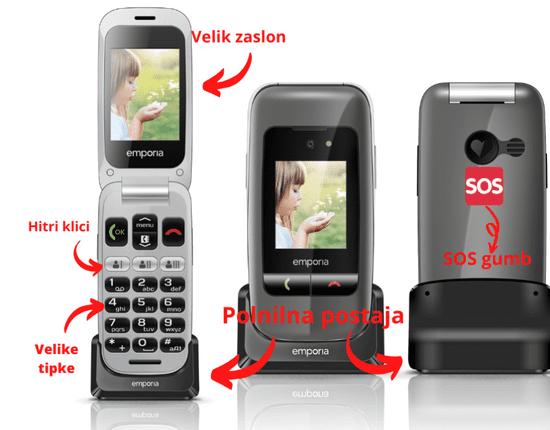 Emporia telefon ONE V200, siv
