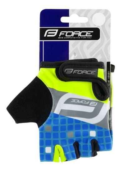 Force Dětské cyklistické rukavice SQUARE - fluo/modré