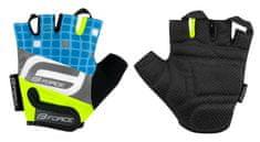 Force Dětské cyklistické rukavice SQUARE - fluo/modré - M