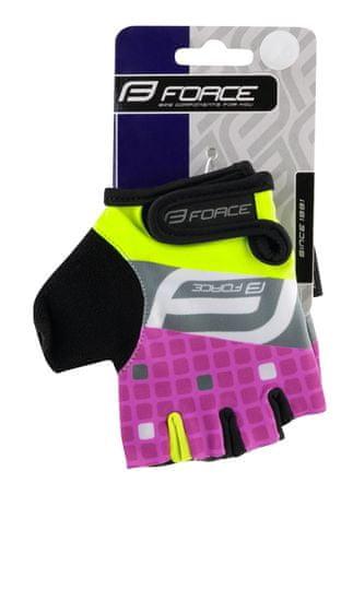 Force Dětské cyklistické rukavice SQUARE - fluo/růžové