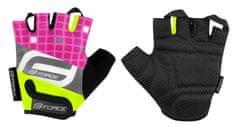 Force Dětské cyklistické rukavice SQUARE - fluo/růžové - L