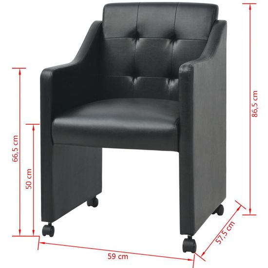 shumee Jedilni stoli 6 kosov črno umetno usnje