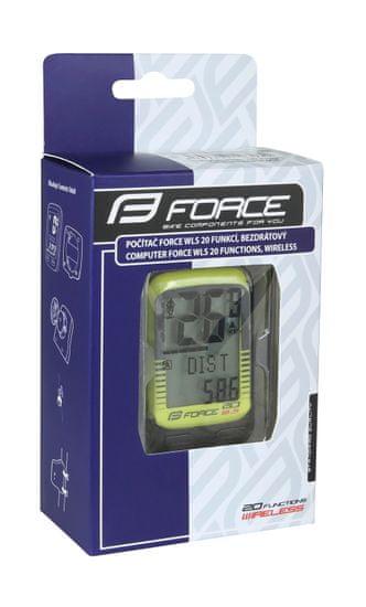 Force Tachometr (cyklopočítač) 20 funkcí, bezdrátový - fluo žlutý