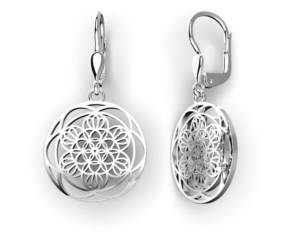 Jewstone Stříbrné náušnice Mandala – Květ života
