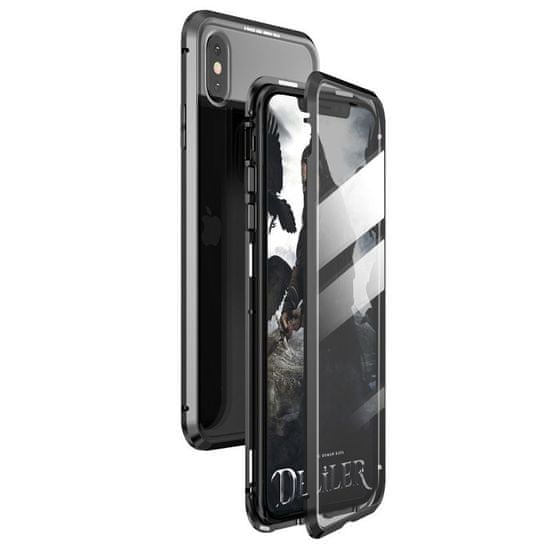 MG Magnetic Full Body Glass magnetni ovitek za iPhone 7/8/SE 2020, črna/pregleden