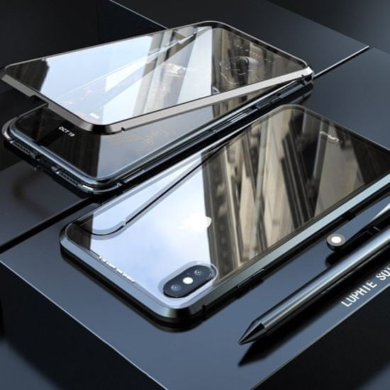 MG Magnetic Full Body Glass magnetni ovitek za iPhone XR, črna/pregleden