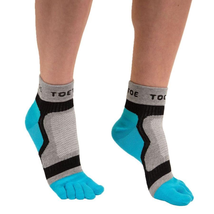 TOETOE Dámské i pánské bavlněné sportovní prstové ponožky - 39-42, šedá/modrá