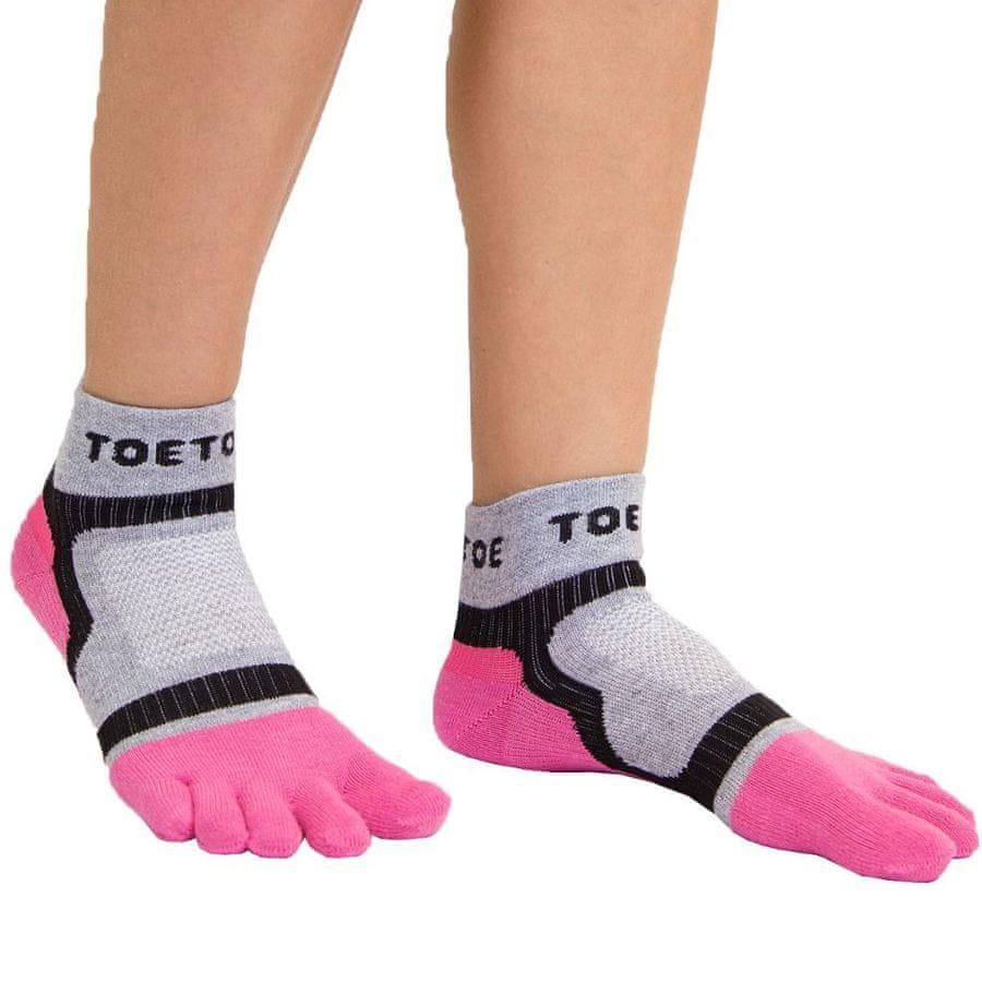 TOETOE Dámské i pánské bavlněné sportovní prstové ponožky - 35-38, růžová/šedá