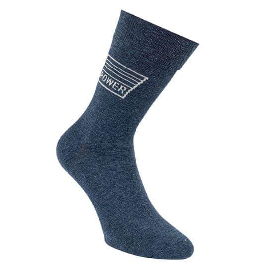 RS Kvalitní klasické pánské hladké bavlněné ponožky bez gumiček džínový vzorem 3215220 3-pack