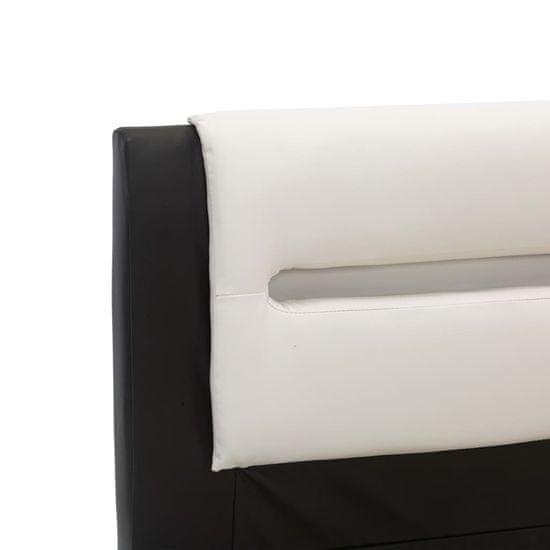 shumee Posteljni okvir LED črno in belo umetno usnje 160x200 cm