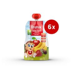 Fructal Frutek Pouch otroška kaša, jabolko, banana, jagoda, 6 x 100 g