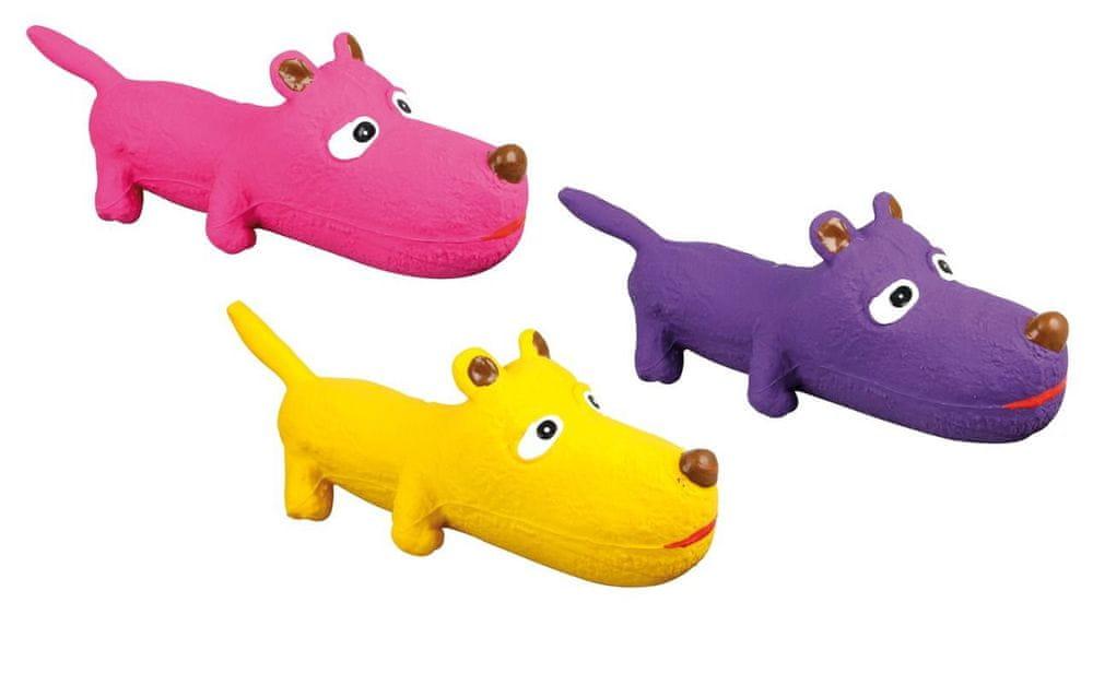 Karlie hračka pro psy pískací latexová různé barvy 26x8x9 cm