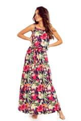 Numoco Dlouhé letní šaty na ramínka - červené květy, velikost S