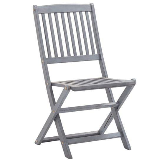 shumee Skladacie záhradné stoličky s vankúšmi 8 ks agátové drevo