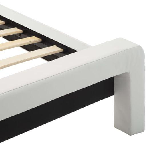 shumee Posteljni okvir LED belo in črno umetno usnje 140x200 cm