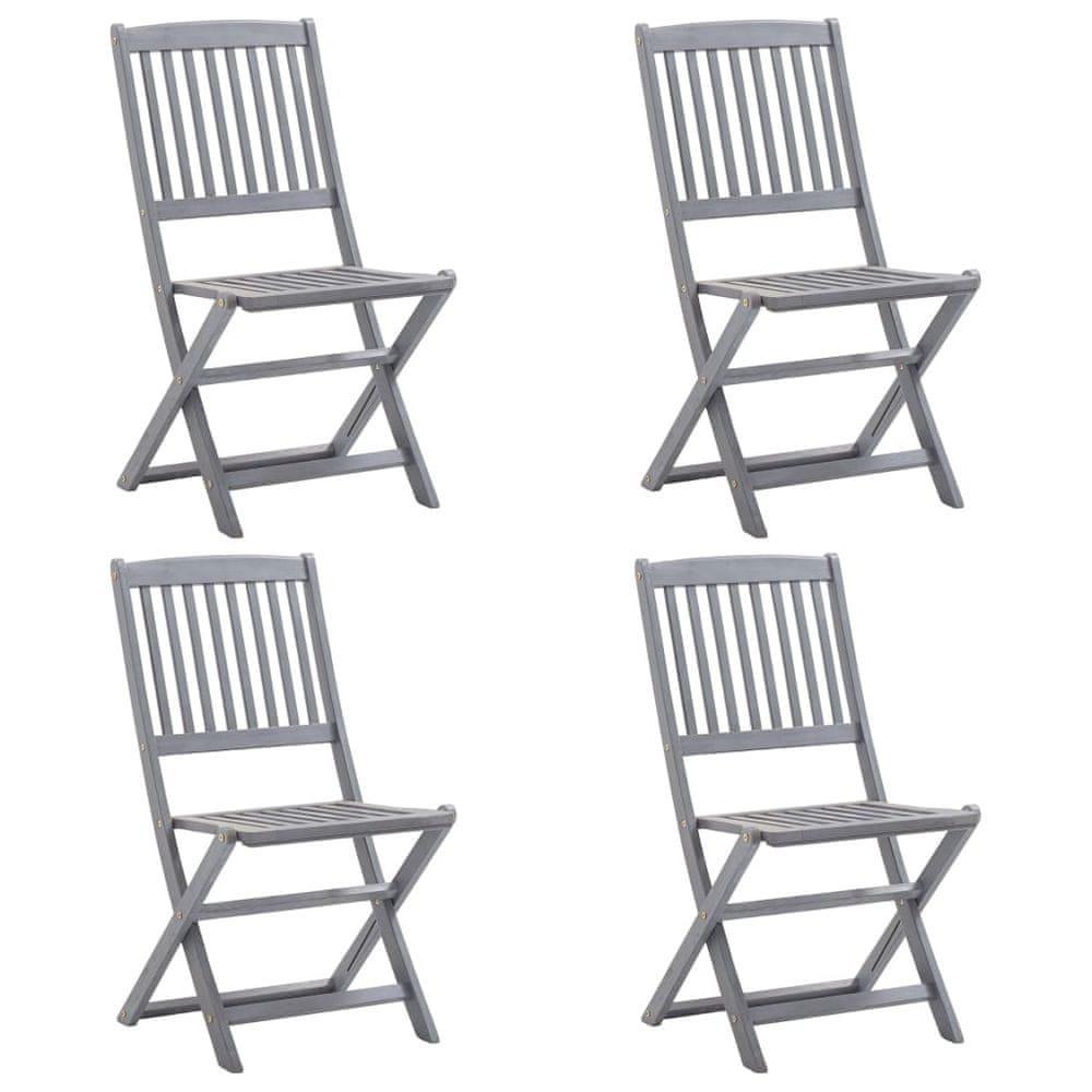 Skládací zahradní židle 4 ks masivní akáciové dřevo