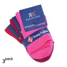 RS Dětské dívčí jednobarevné bavlněné ponožky růžové a červené 21097 3-pack - 27-30