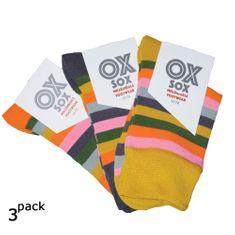 OXSOX Dámské barevné bavlněné pruhované ponožky bez gumiček 34097 3-pack, 35-38