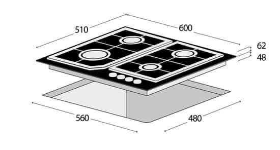 Concept plynová varná deska PDV7460bc